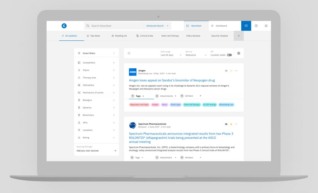 Contify's market and competitive intelligence platform