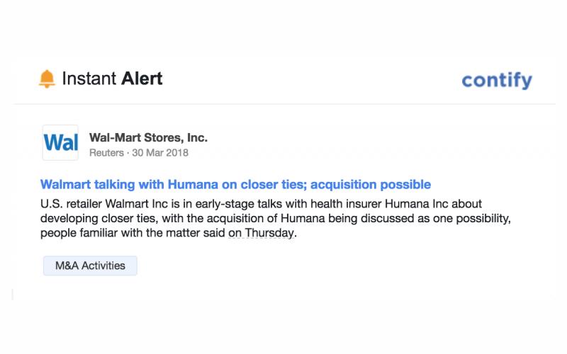 Actual screenshot of a high impact instant alerts