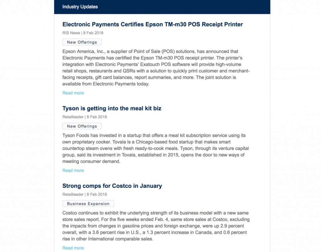Screenshot of the Industry Updates section of the client's Market and Competitive Intelligence newsletter