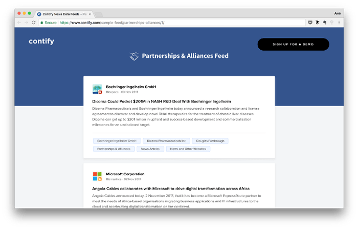 Contify S Partnerships Amp Alliances Feed One Of Our Many News Data Feeds