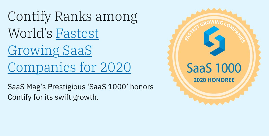 Saas Magazine S Prestigious Saas 1000 Honors Contify For Its Fast Growth